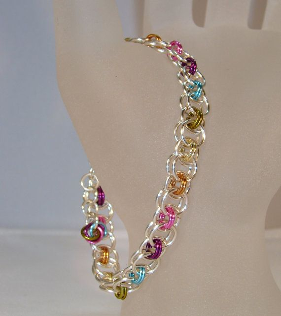 Rainbow Silver Maille Bracelet