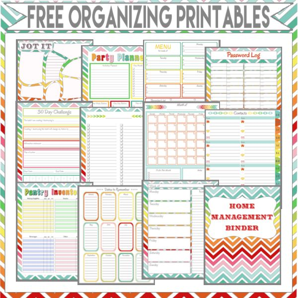 Organizing Printables: Get organized in 2015 for free!!