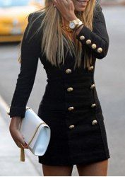 Trendy Buttons Design Long Sleeve Round Collar Solid Color Pullover Dress For Women (WHITE,M) | Sammydress.com Mobile