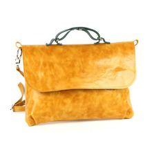 Желтая сумка из гладкой кожи под размер A4