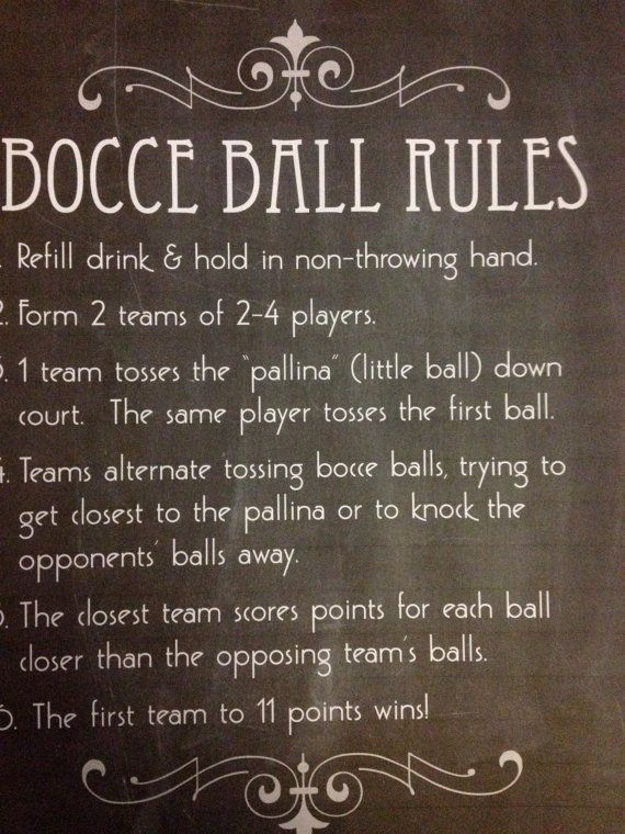 Printable Bocce Ball Rules and Signs for Wedding by KnottedLife