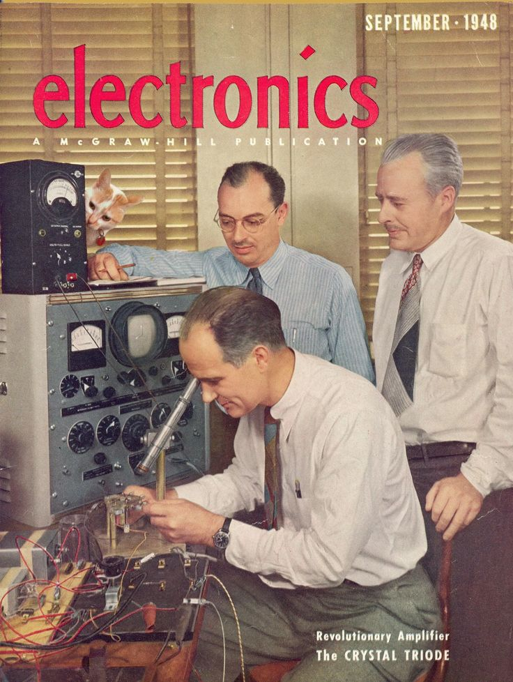 September 1948 cover of Electronics Magazine showing the inventors of the first transistor in their workshop at Bell Labs: John Bardeen (background with glasses), Walter Brattain (right with mustache), and William Shockley (seated pretending to work). The three men would later share the 1956 Nobel Prize in Physics.