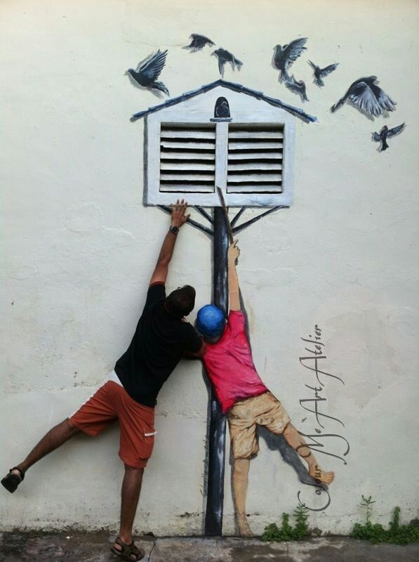 The Pigeon Boy, Ernest Zacharevic, Penang http://restreet.altervista.org/ernest-zacharevic-street-artist-che-unisce-reale-e-irreale/