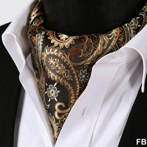 Gold Orange Paisley Floral 100%Silk Ascot Cravat For Men