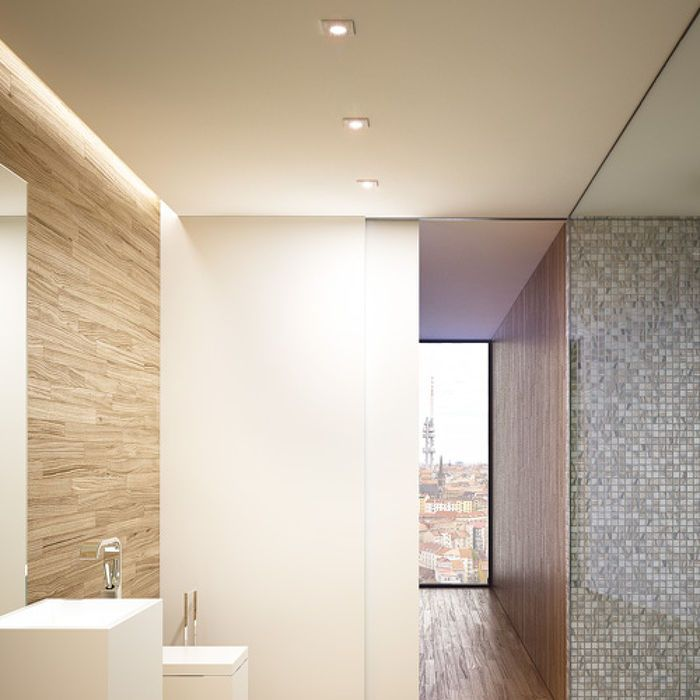 ASTOR SQ | rendl light studio | Recessed light with a brushed aluminum frame. The glass cover is semi-satinated. Suitable for wet environments. #lighting #interior #recessed #bathroom