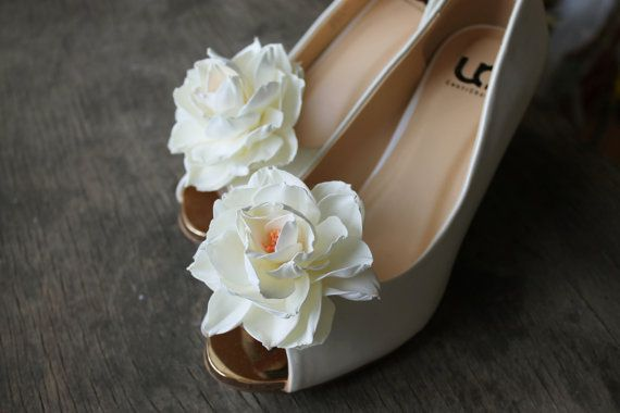 Flowers shoe clips white mini peonies floral by Sweetpinkbox