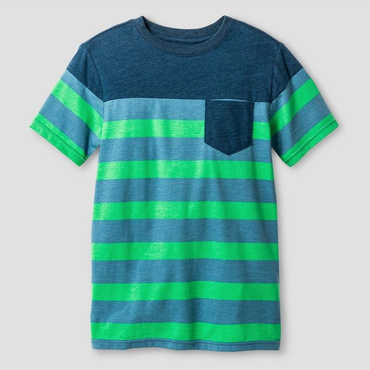 Boys' Classic Stripe Pocket T-Shirt Cat & Jack Green XS, Boy's