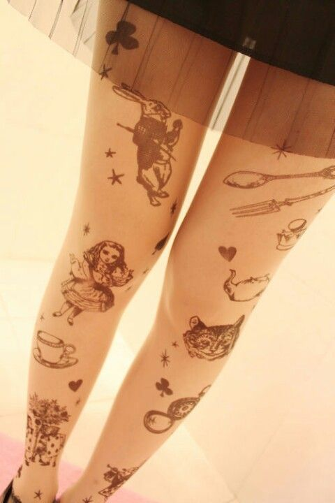 Alice in Wonderland tattoo tights.