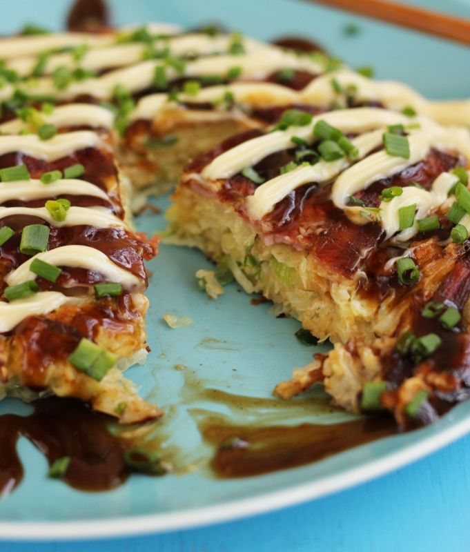 """Okonomiyaki means """"grill it as you like it.""""  It is a savory Japanese Pancake that is sure to be the rave in 2014!"""