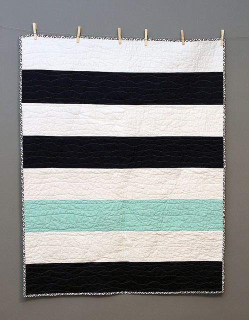 "Great Nautical stripe minimalist quilt made by Knottygnome Crafts. ""I did wavy line quilting with my walking foot and white 50-wt #Aurifil the binding is cut on the bias and handstitched to the back. i love simple minimalist quilts.""  To see more visit http://blog.knottygnome.com/2013/06/deja-vu.html"