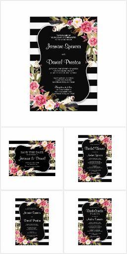 Boho Chic Black Stripe Wedding Invitation Set