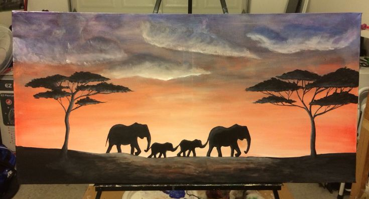 Acrylic elephant painting on canvas