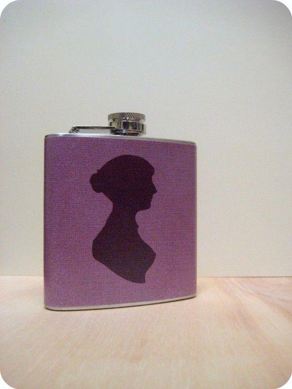 6 oz Stainless Steel Flask  Jane Austen Silhouette by whimsyandink, $19.95
