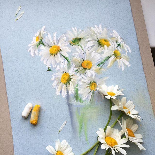 Столько цветов, а времени рисовать совсем нет. Люпины так и простояли в вазе, пока не завяли. Ромашкам повезло больше #ромашки #пастель #рисуемпастелью #цветы #цветыпастелью #арт #softpastel #softpastels #flowers #artist