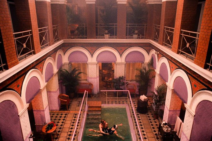 The Grand Budapest Hotel Set | An early-1900s arch-laden bathhouse discovered in Görlitz during production doubled as the hotel's pool and spa.