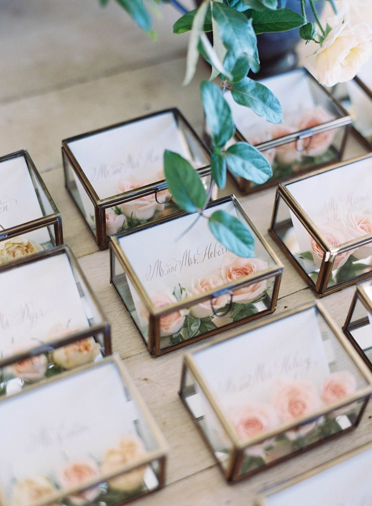 Glass Box Escort Cards with Fresh Flowers - Easton Events