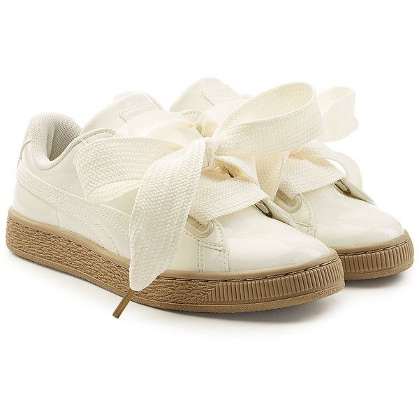 Puma Basket Patent Sneakers (€99) ❤ liked on Polyvore featuring shoes, sneakers, white, white patent shoes, white patent leather shoes, white bow shoes, bow tie shoes and white sneakers