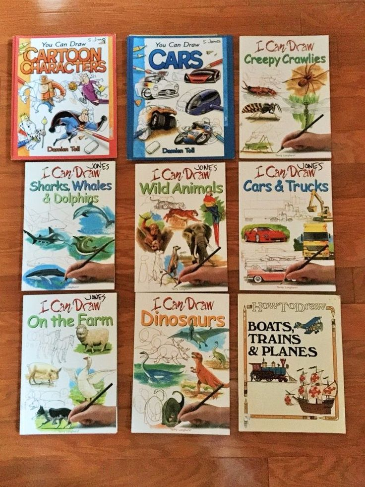 Lot 10 childrens HOW TO DRAW book lot animals cars trucks dinosaurs bug cartoons