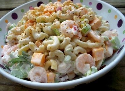 Weight Watchers Shrimp Macaroni Salad recipe – 8 points.  I'd use broccoli instead of green pepper though... and probably onion powder for flavor instead of chopped onions.