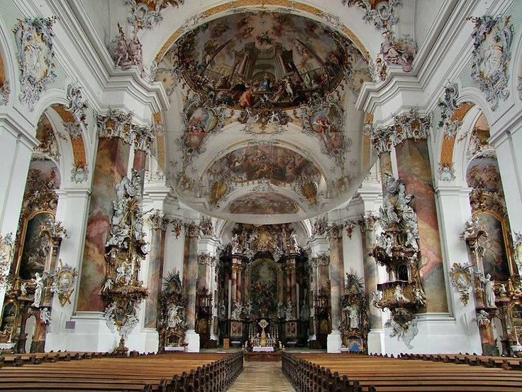 The Rococo Basilica at Ottobeuren (Bavaria): architectural spaces flow together and swarm with life