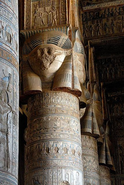 Temple of Hathor of the Dendera Temple complex, near Dendera, Egypt.  It is one of the best-preserved temple complexes in Egypt.  by off2africa