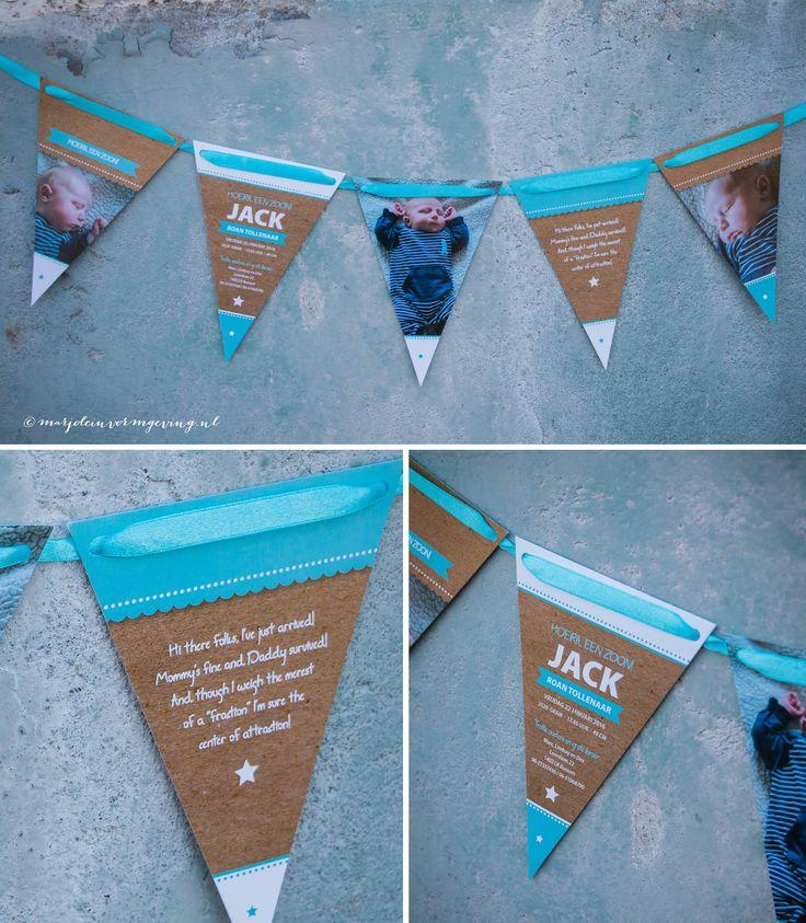 Ontwerp geboortekaartje vlaggetjes Jack - Marjolein Vormgeving #ontwerp #kaarten #geboortekaartje #vlaggetjes #creatief #vlaggetjeskaart #vlaggenlijn #geboorte #kaartje #vlaggetjeskaart #newborn