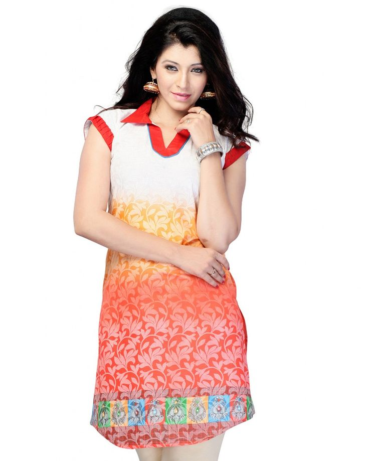 This is a casual wear tunic - kurti made from printed cotton fabric.  Size Guide:  S - 36 Inches(Bust).  M - 38 Inches(Bust).  L - 40 Inches(Bust).  XL