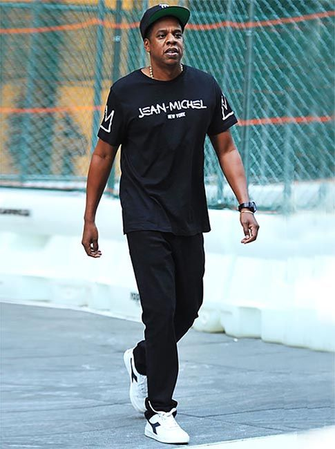 JAY-Z SPORTS BLACK BOY PLACE T-SHIRT AND DIADORA SNEAKERS ...