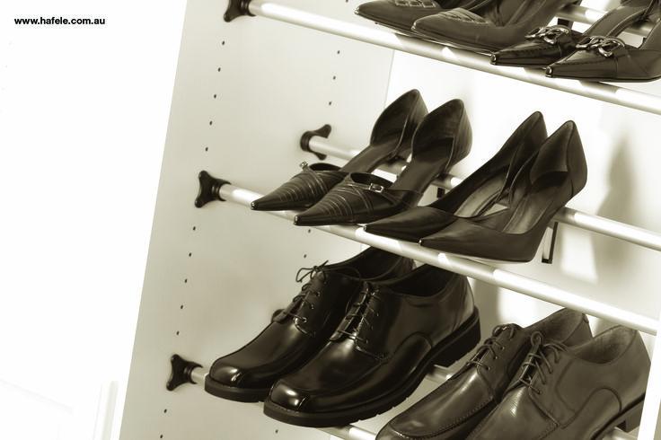Shoe Rail System: Cut to size shoe rail. Shoe storage solutions by Hafele Australia