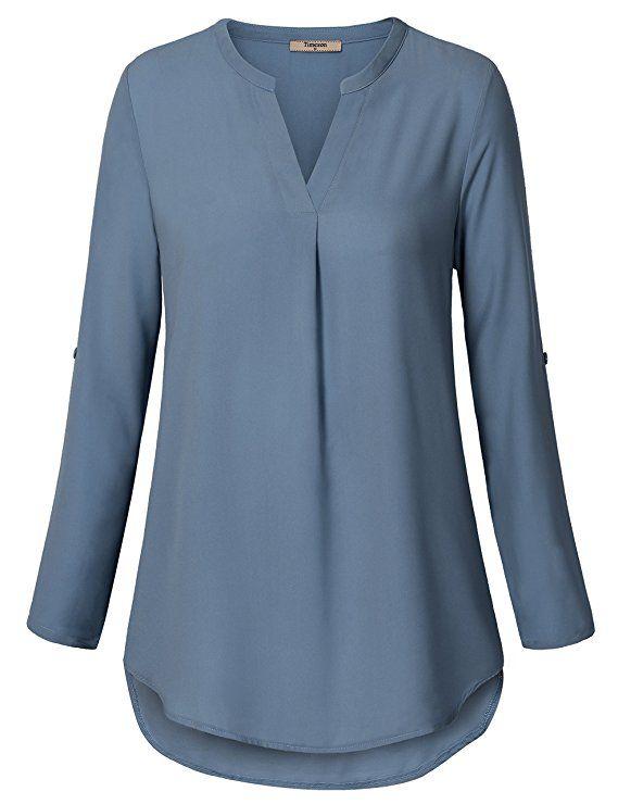 0da7fc54c50380 Timeson Women s Casual Chiffon V Neck Cuffed Sleeve Blouse Tops (Large