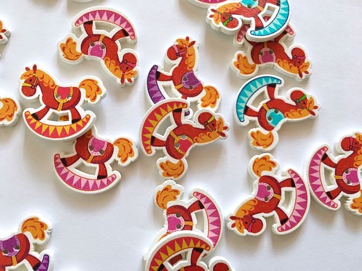 A personal favorite from my Etsy shop https://www.etsy.com/listing/514803608/5-rocking-horse-buttons-horse-button