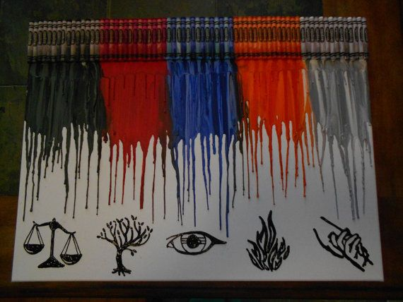 Divergent Melted Crayon Art Painting by OnceUponACrayon on Etsy, $45.00. this is the coolest thing ever.