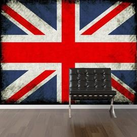 Vintage Jack Mural (Vintage Jack)   Digetex Wallpapers   A Union Jack  Cushion In Red, White And Blue With A Weathered Print Effect. Part 82