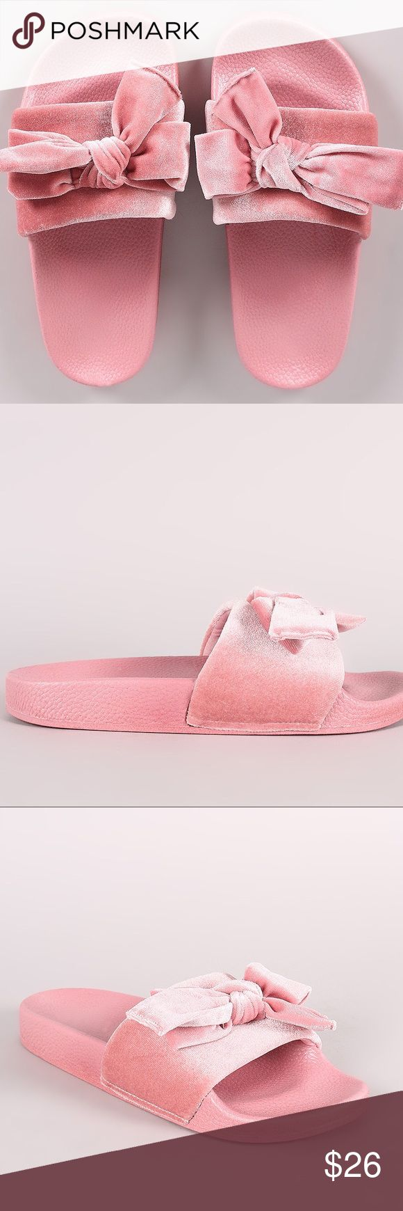 Inspired Puma Fenty Bow Slides by Rhianna Cute bow slides inspired by Puma Fenty Bow Slides. This sandal features a soft velvet band with a knotted bow accent and a comfy molded footbed in the color pink.                                                                                          Picture is of the actual item. Sold on and by LikeTheMinimal.com.    Sizes 5.5 through 10 available Rihanna Shoes Sandals