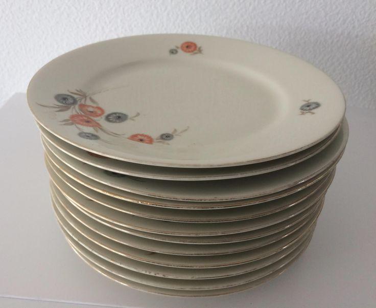 Vintage set of 12 Kahla porcelain cake plates with flower decoration by MORETHANVINTAGENL on Etsy