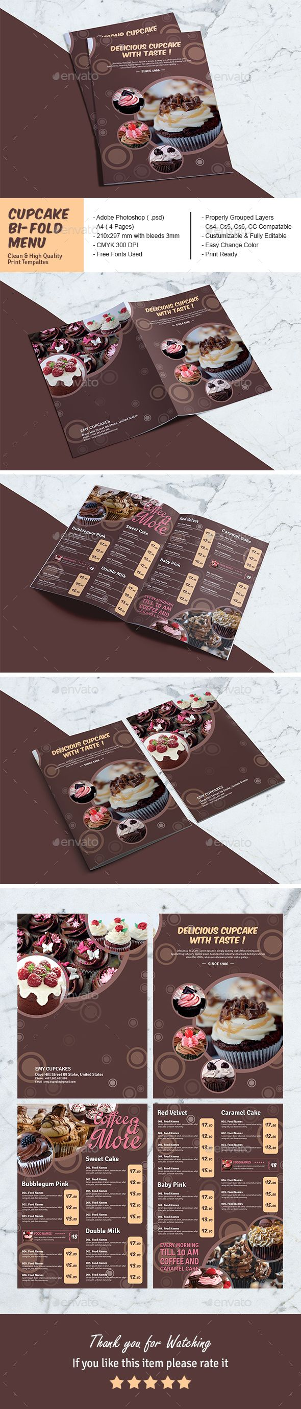 Cupcake BiFold Menu Template — #list #coffee • Download ➝ https://graphicriver.net/item/cupcake-bifold-menu-template/21227306?ref=pxcr