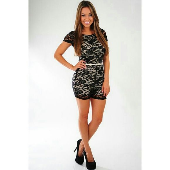 Shop Hope's Boutique Floral Lace Romper New with tags, black/cream in color, lace details, scoop back and comes with the belt shown.  Model is wearing the piece as you can see in the first photo provided.  Somewhat short. NO more trades!! Least amount I'll take is $33. Super cute and sexy! Shop Hope's Tops