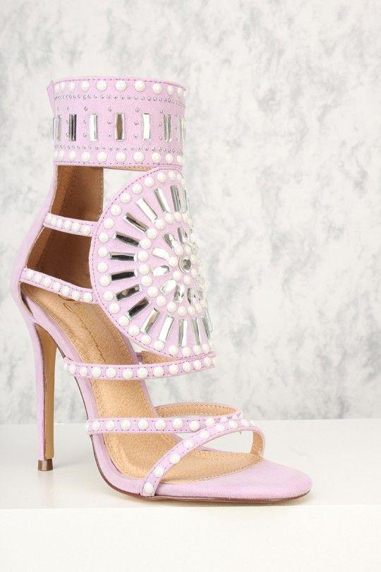 3c3782c7ba Sexy Lavender Gemstone Pattern Open Toe Single Sole High Heels Faux Suede |  Heels | Heels, High heel pumps y Shoes heels