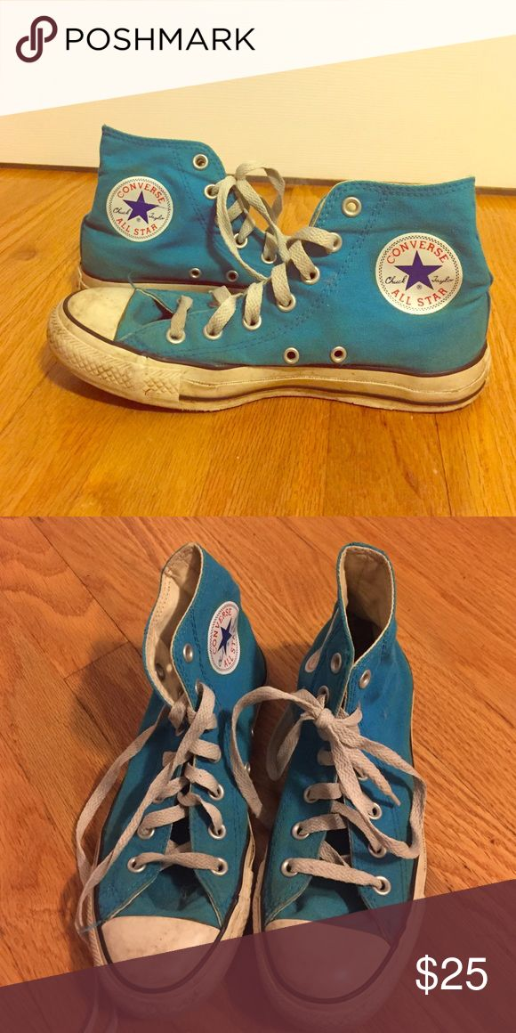 Converse Chuck Taylor Blue High Top Sneakers Lightly worn, Turquoise blue, great condition Converse Shoes Sneakers