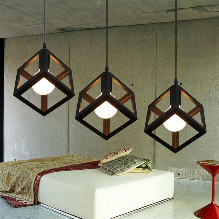 Modern LED Pendant Lamp, Metal Cube Cage