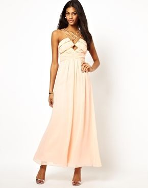 Little Mistress Embellished Cut Out Chiffon Plus Size Maxi Dress - peach