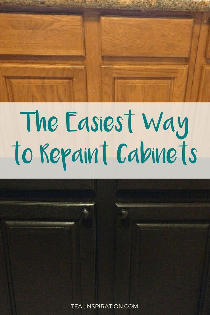 The Easiest Way To Repaint Cabinets Repainting Kitchen Cabinets Repainting Cabinets Bathroom Cabinets Diy