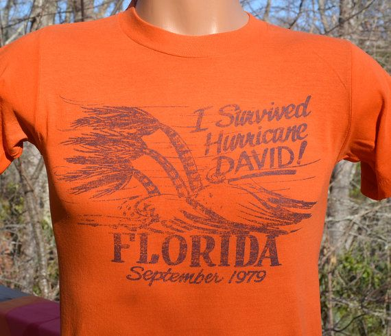 70s vintage tee HURRICANE DAVID i survived florida by skippyhaha
