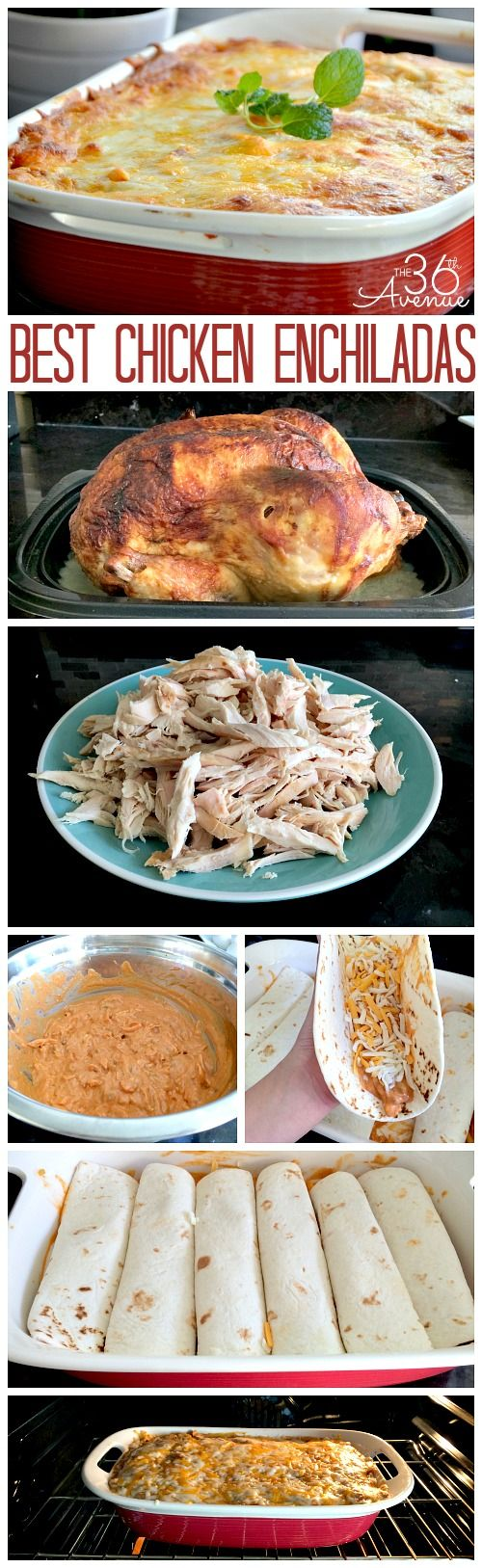 These are the easiest and delicious chicken enchiladas EVER! Get a roasted chicken at the store a few more ingredients and dinner is ready to go! #recipes #chicken