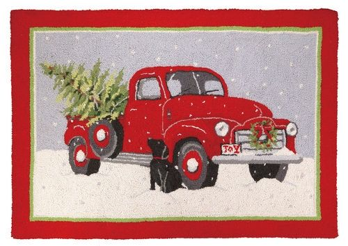 Black Lab with Red Truck, christmas Lab rug, christmas rug, christmas dog rug, Mary Lake Thompson rug