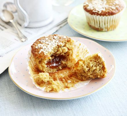 Marmalade muffins. These craggy individual cupcakes are filled with oats, citrus and a melting middle - they're low-fat too