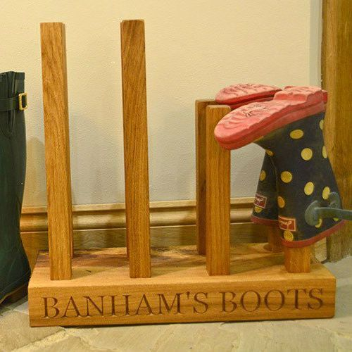 Four Pair Personalised Oak Welly Boot Rack £210.00 https://www.giftwrappedandgorgeous.com/four-pair-personalised-oak-welly-boot-rack-22254