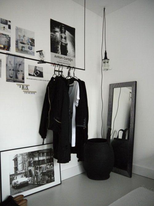 Black And White Interior, Hanging Light Bulb, Alternative Closet