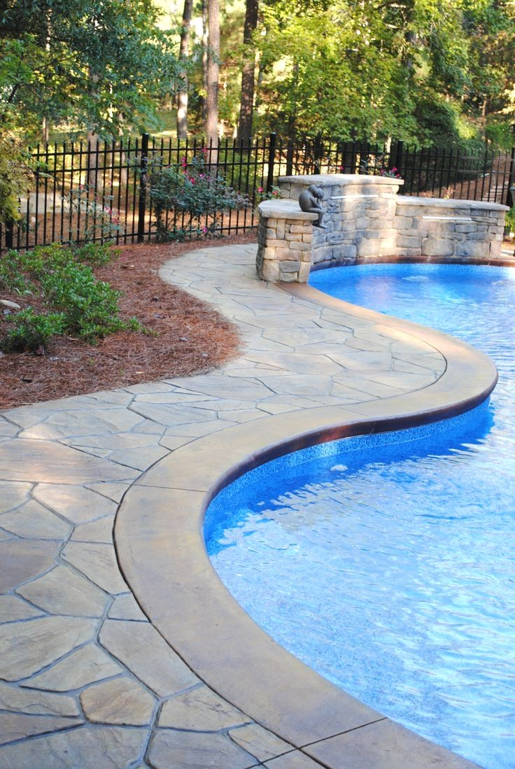 Stamped Concrete Texture If You Wish To Produce A Room Look Bigger Try Decorating With Lighter Color Inground Pool Landscaping Concrete Pool Stamped Concrete