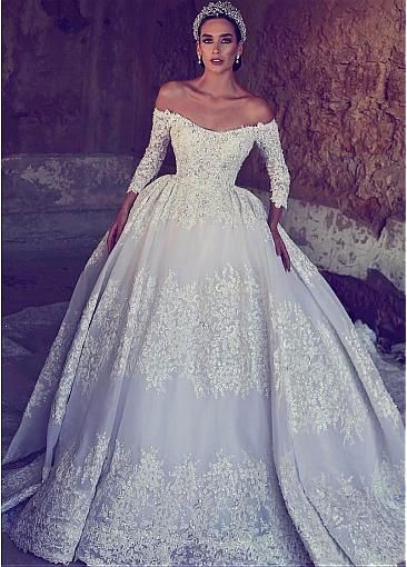 a217322482aa Junoesque Tulle Off-the-shoulder Neckline Ball Gown Wedding Dress With  Beaded Lace Appliques